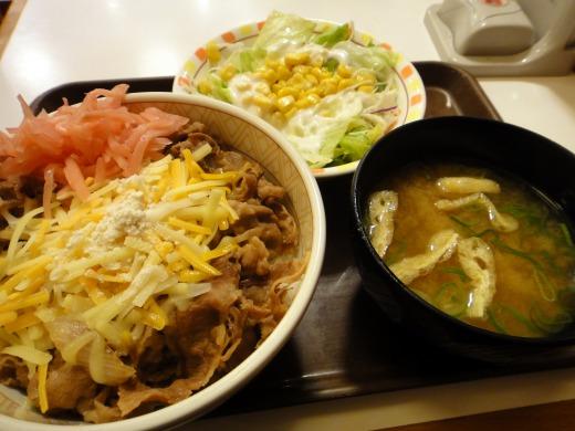 優待券1枚で3種のチーズ牛丼(並)+サラダセットを食べました。 in すき家