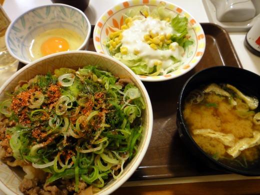すき家で ねぎ玉牛丼(並)+サラダセットを食べました。