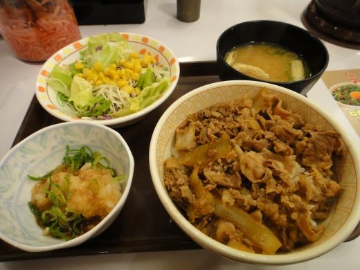 すき家で おろしポン酢牛丼(並)+サラダセットを食べました。
