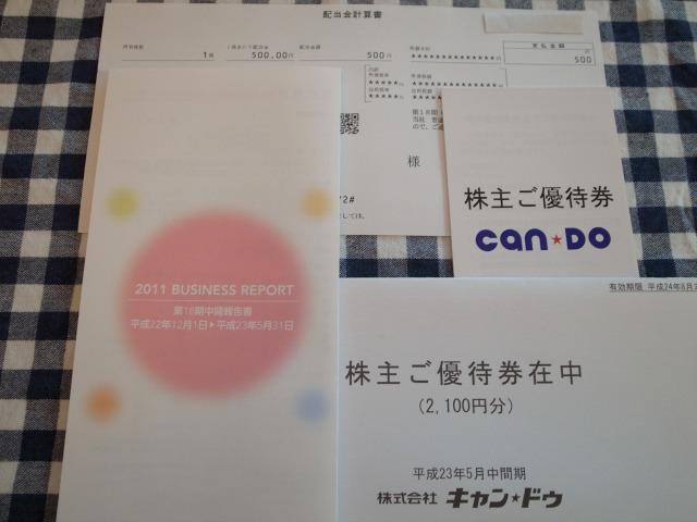 (株)キャンドゥより第18期 中間配当金と株主優待券が届きました。