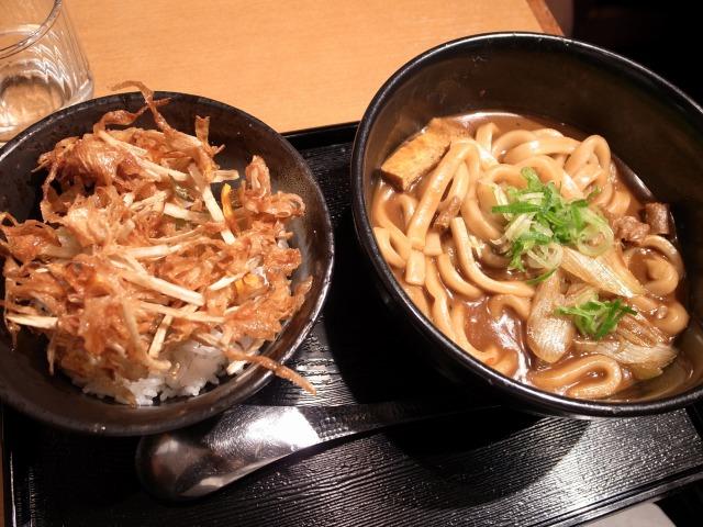 せんきちで「黒カレーうどん 野菜かき揚げ丼セット」を食べました@渋谷道玄坂