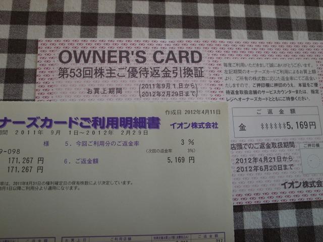 イオン(株)より第53回株主ご優待返金引換証とオーナーズカードご利用明細書が届きました。