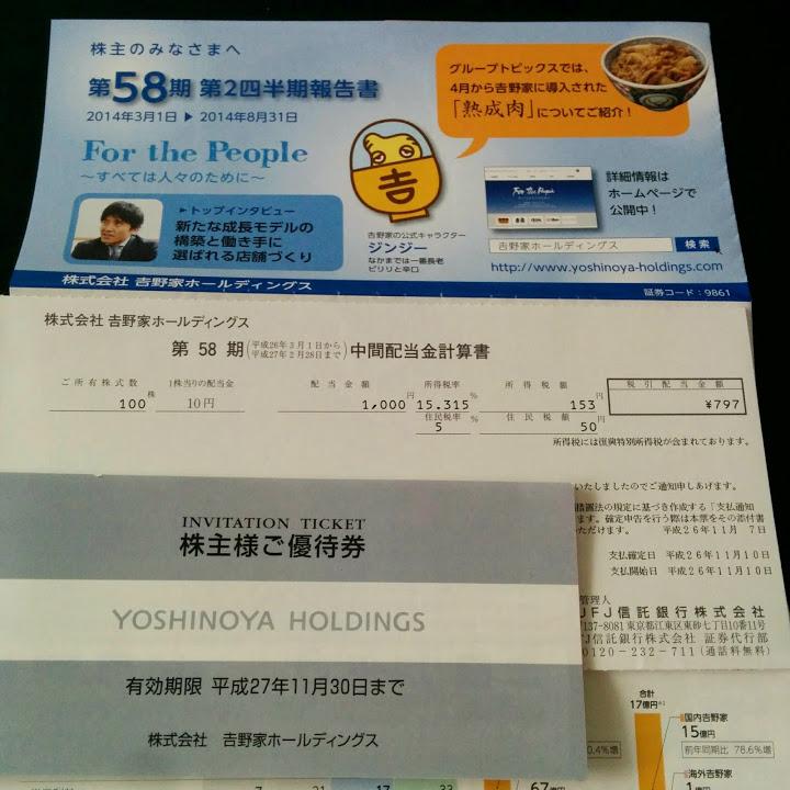 (株)吉野家ホールディングスより第58期 中間配当金計算書と株主優待券が届きました