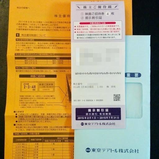 東京テアトル(株)より2015年5月末の「株主ご優待券4枚綴」が届きました