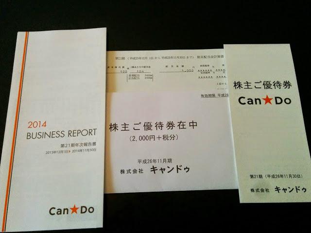(株)キャンドゥより第21期 期末配当金と株主優待券が届きました