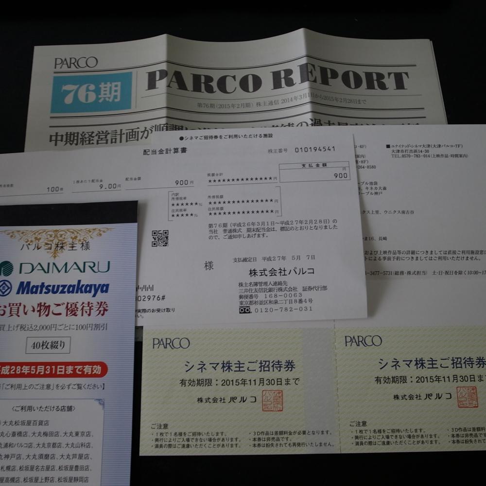 (株)パルコより第76期 優待券と配当金計算書が届きました