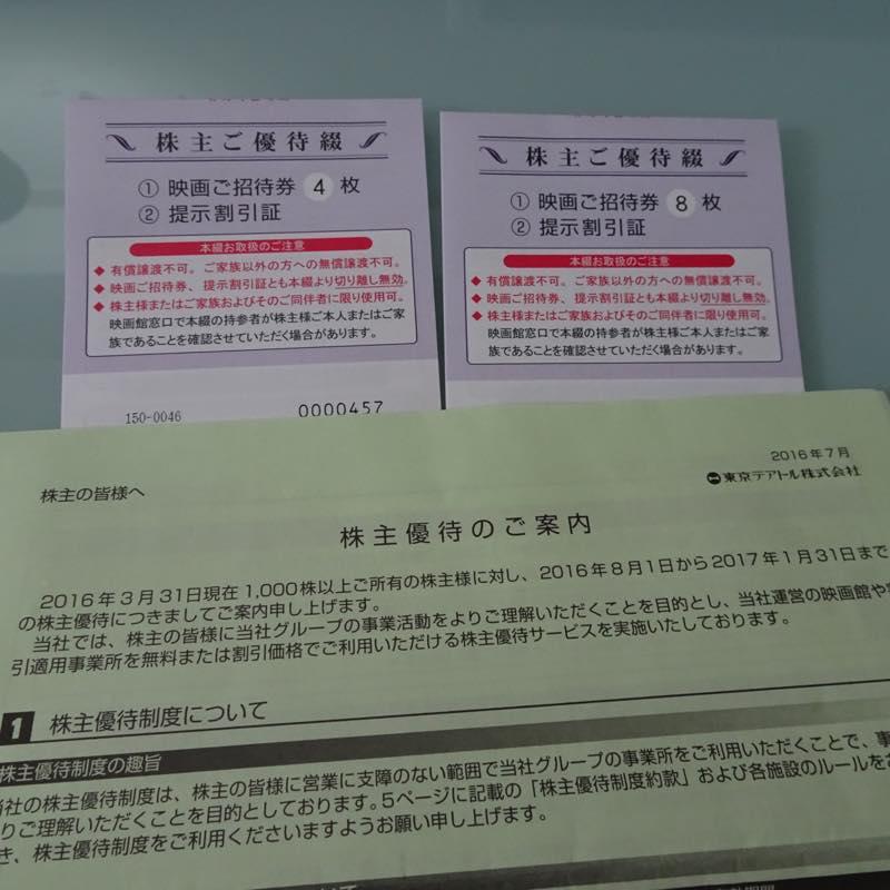 東京テアトル(株)より2016年3月末「株主ご優待券8+4枚綴」が届きました