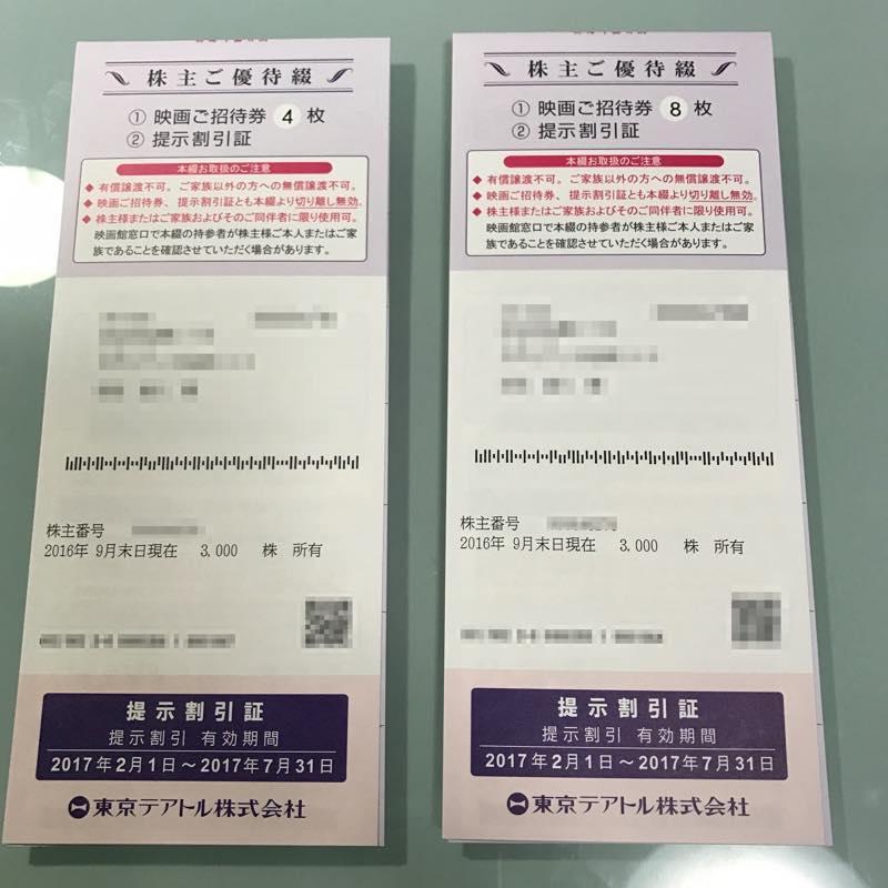 東京テアトル(株)より2017年1月末「株主ご優待券8+4枚綴」が届きました