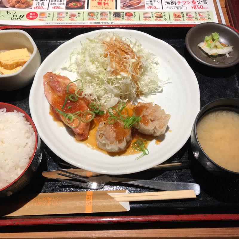 ランチに日替わり定食(チキンのみぞれとシュウマイ)を頂く@NIJYUMARU コロワイド
