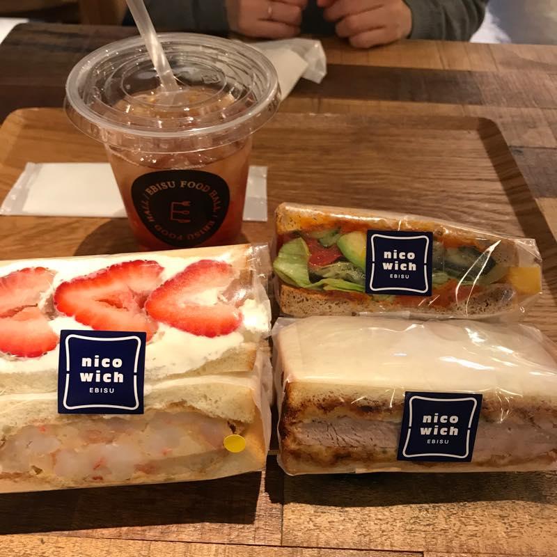 サンドイッチ専門店nicowichで遅めランチ(海老×フルーツ、カツ×ベジ)@クリエイト・レストランツ
