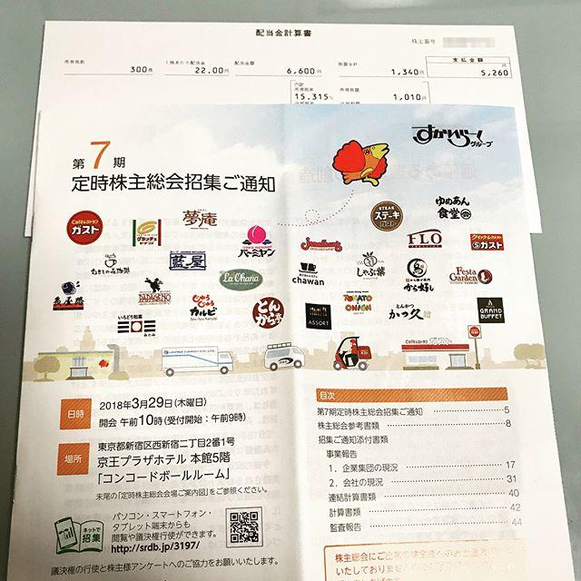 第7期(株)すかいらーくより5,260円の期末配当金が到着!!