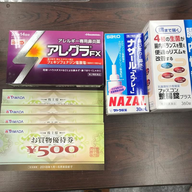 【ヤマダ電機の優待】花粉対策で鼻炎薬と点鼻薬などを買う