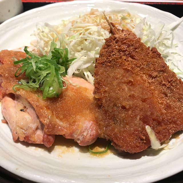 【優待ランチ】日替わりランチ「チキンとアジフライおろしポン酢」を頂く!!@ NIJYUMARU コロワイド
