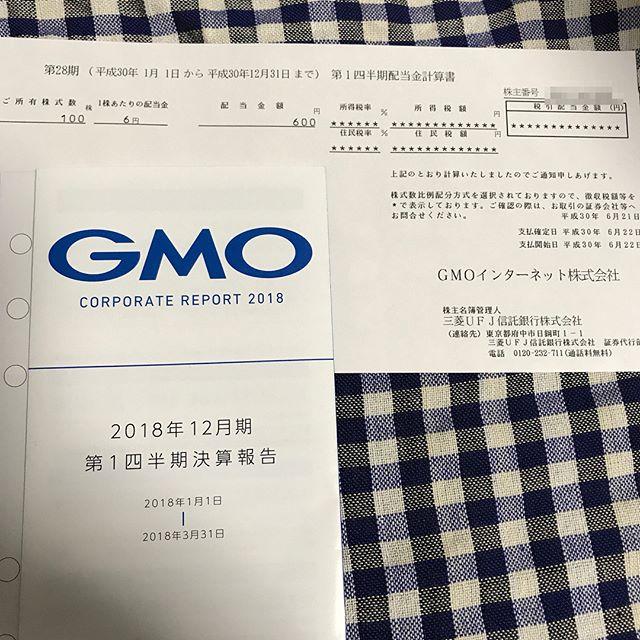 第28期 第1四半期600円の配当金が到着!!<br>GMOインターネット(株)