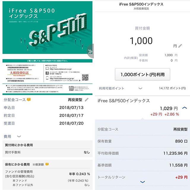 【積立投信】iFree S&P500インデックスを楽天ポイント1,000pt分買増@2回目