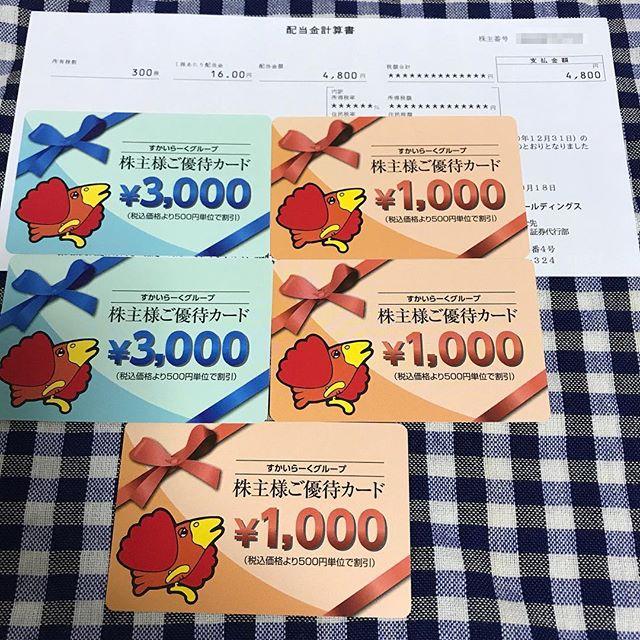 (株)すかいらーくより9000円分の株主優待カードと配当金4800円到着!!