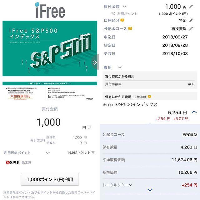 【積立投信】iFree S&P500とiFreeNYダウを楽天ポイント1,000ptずつ買付