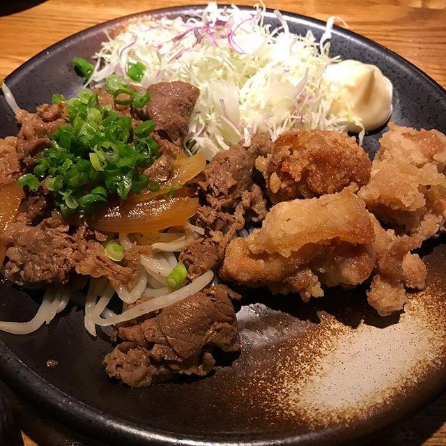 【優待ランチ】日替わりランチ唐揚げ&牛すき煮を頂く!!@テング酒場