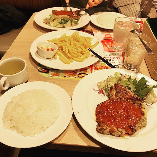 【優待ディナー】若鶏のグリル ガーリックソースと山盛りポテトフライを頂く!!@ガスト