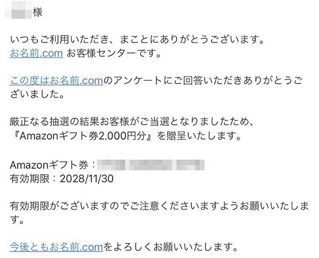 お名前.comのアンケートで2000円分のAmazonギフト券が当選!!