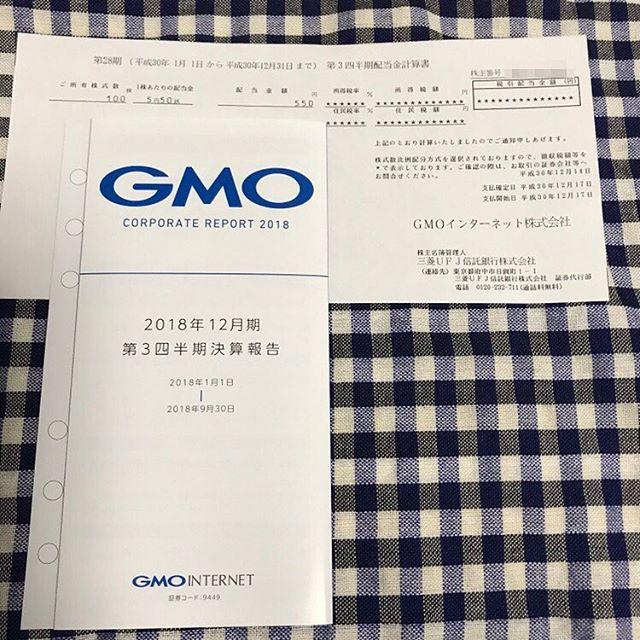 550円の配当金が到着!!<br>第28期 第3四半期 GMOインターネット(株)