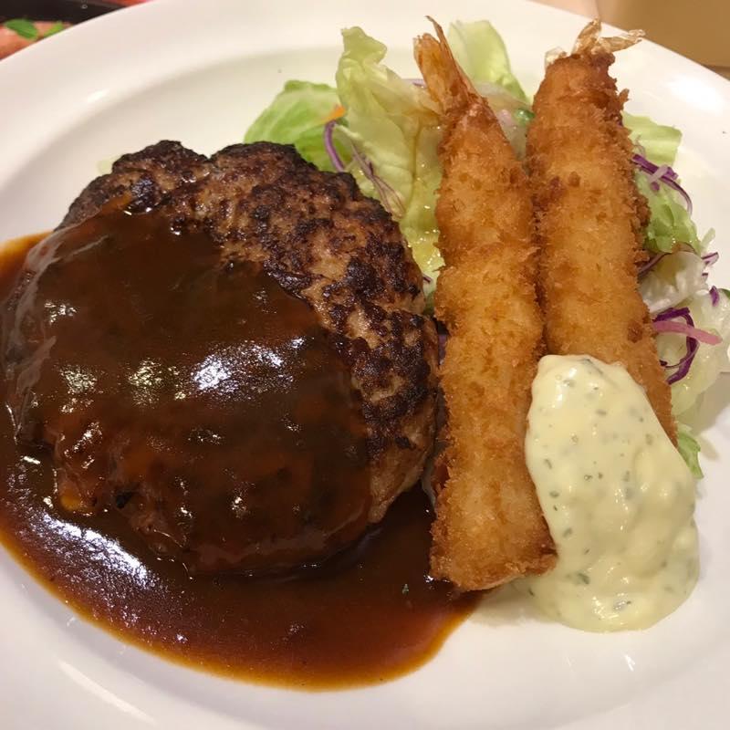 【優待ディナー】チーズINハンバーグ&海老フライを頂く!!@ガスト