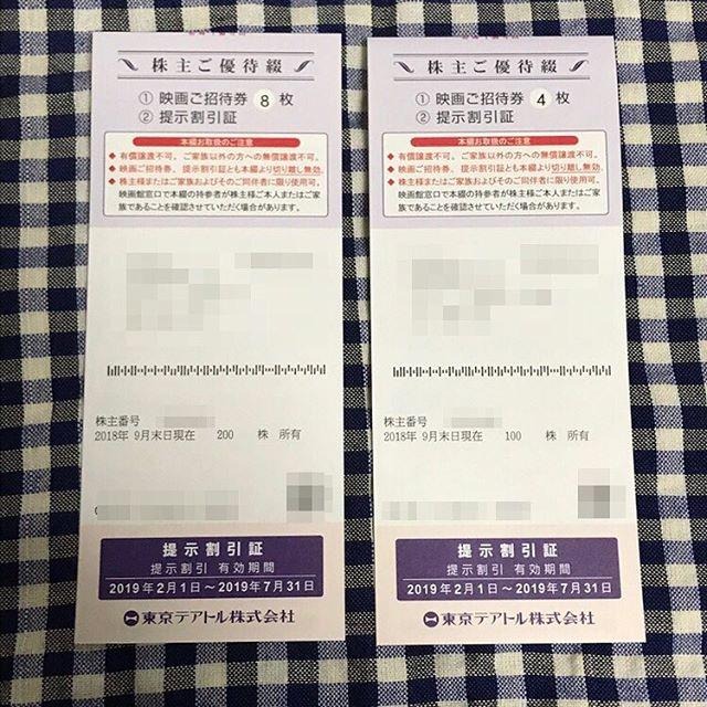 東京テアトル(株)より2019年7月末までの「株主ご優待券8枚と4枚」が届きました!!