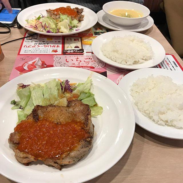 【優待ランチ】若鶏のグリルガーリックソースとAセット ドリンクバー付きを頂く!!@ガスト