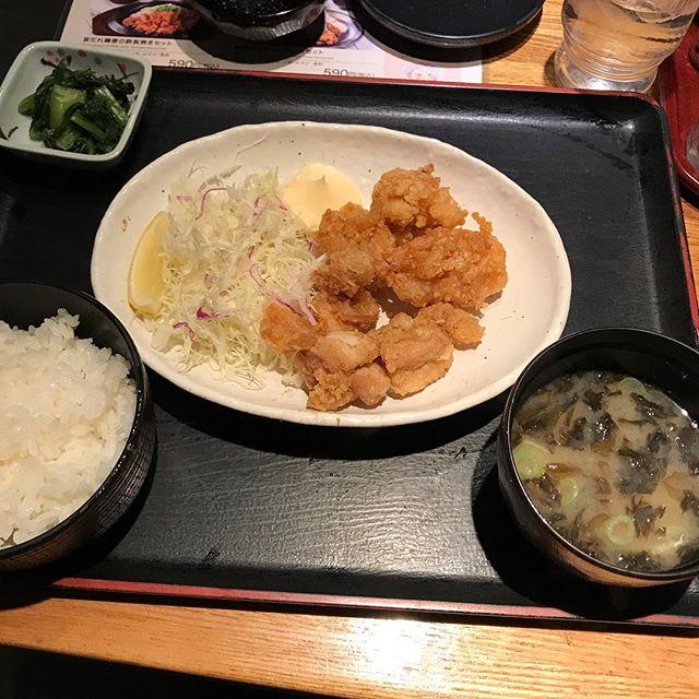 【優待ランチ】鶏の唐揚げセットを頂く!!@テング酒場