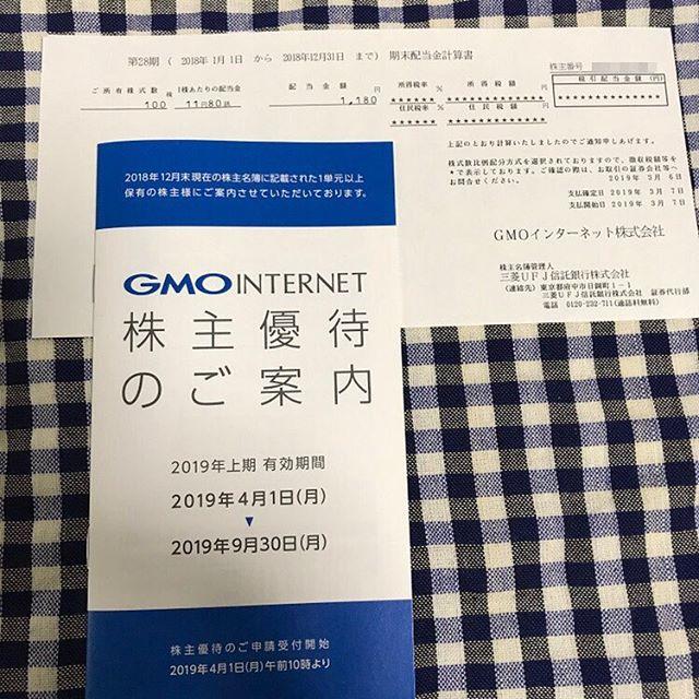 1,180円の期末配当金と株主優待が到着!!<br>第28期 GMOインターネット(株)