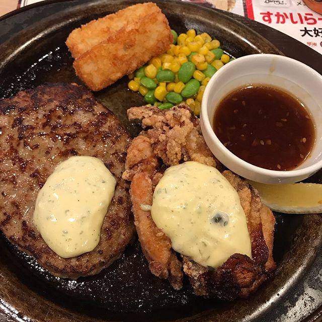 【優待ランチ】ハンバーグ&チキン南蛮を頂く@ガスト