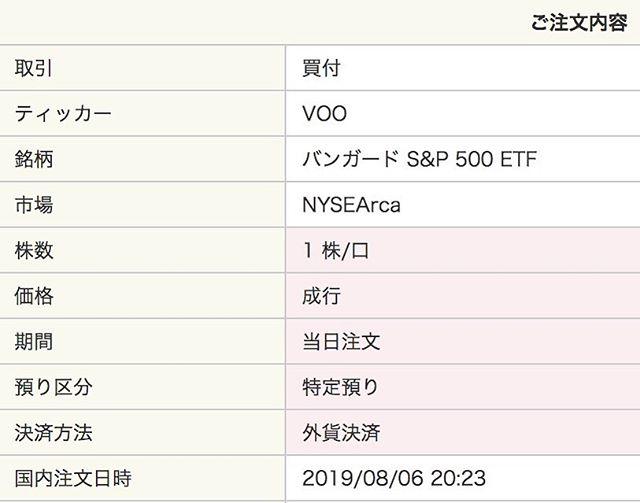 【米国株】ダウが暴落したので VOO バンガード S&P500 ETFを1株成行注文