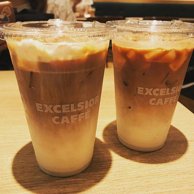 【優待カフェ】エクセシオールカフェで休憩<br>2人ともアイスマロンラテ Lサイズを頂く❣️