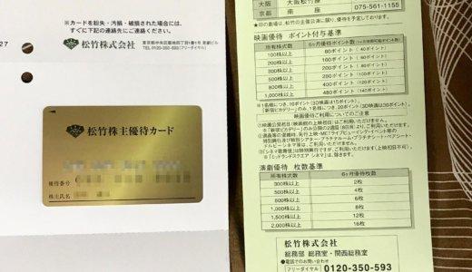 【2020年2月優待】松竹株主優待カード 160ポイント付与<br> 松竹(9601)より到着しました❣️