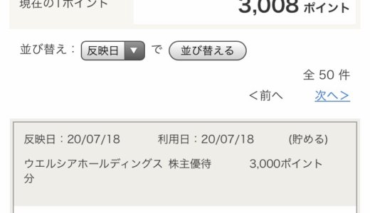【2020年2月優待】Tポイント3,000ポイント<br>ウエルシア(3141)より到着しました❣️