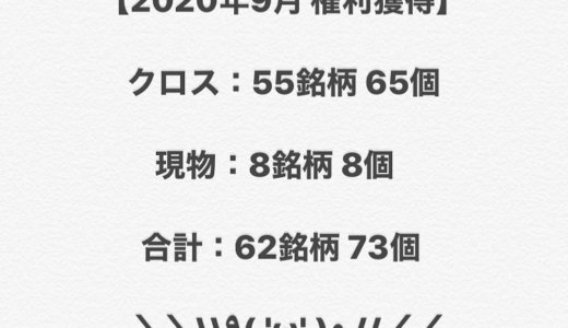 【2020年9月権利獲得の記録】クロス 55銘柄 65個、長期現物 8銘柄8個❣️合計 62銘柄 73個獲得しました❣️