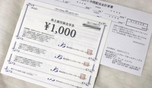 【2020年8月優待】株主優待御食事券 4,000円分と配当金 300円<br>ジェイグループ(7925)より届きました❣️