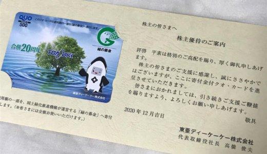 【2020年9月株主優待】クオカード 500円分<br>東亜ディーケーケー(6848)より到着しました❣️